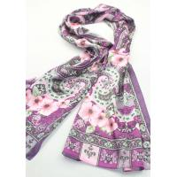 Buy cheap fashion lady scarf  girl scarf 100% silk with follower hot sale from wholesalers