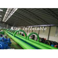 Buy cheap 100m Long Double Lane Inflatable Slip N Slide Green Blue With Logo Printing from wholesalers