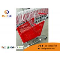 Buy cheap Standard Plastic Supermarket Shopping Trolley Durable Structure Zinc Plated from wholesalers