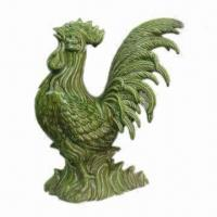 China Rooster Figurine, Crafted of Ceramic, Glazed Crackle Green Finish, Customized Designs Accepted on sale
