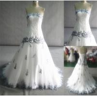 Buy cheap Hot Sale Real Made Sample Strapless Royal Blue and White Wedding Dresses from wholesalers