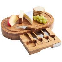 Buy cheap Outdoor Indoor Bamboo Cheese Board Cutlery Knife Set With Laser Or Burned Logo from wholesalers