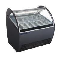Buy cheap Curved Glass Ice Cream Showcase Freezer 16 Pans 1510*1100*1280mm Customized Color from wholesalers