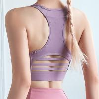 Buy cheap Hot Selling Yoga Fitness Wear Tank Top Nylon Mesh Gym Sports Bra with Pocket+ Legging set from wholesalers