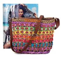 Buy cheap Fashion Women Straw Bag Weaving Bucket Style Travel Beach Shoulder Bags Charming Rainbow from wholesalers