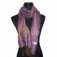 Buy cheap Rayon Scarf, Customized Specifications are Accepted, Measures 67 x 178 + 10 x from wholesalers