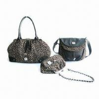 Buy cheap Leopard Jacquard Fabric Winter Bag with Metal Frame and PU Trim from wholesalers