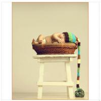 Buy cheap newborn baby long tail hat cap blue colorful Photography Prop Crochet Hats from wholesalers
