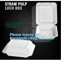 Buy cheap straw pulp lunch box,eco-friendly PLA tableware,dinnerware set,healthy tableware,containers packaging bagasse clamshell from wholesalers