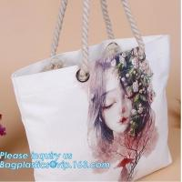 Buy cheap Promotional custom portrait printing lady shoulder bag,cotton canvas shopping tote bag with cotton rope handle bagease p from wholesalers