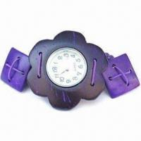 Buy cheap Fashionable Watch in Flower Shaped Design, Made of Wood, Customized Logos are Accepted from wholesalers