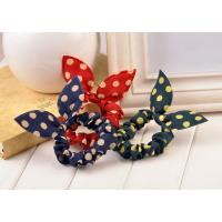 Buy cheap Wave Point Bunny Ears Hair Scrunchies For Thick Hair , Handmade from wholesalers