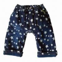 Buy cheap Children's Jean Pants with Slub Denim, Discharge Prints, Fleece Lining, Double Layer, Garment Washed from wholesalers