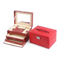 Wholesale Red Leather Makeup Case Cosmetic Bag Organizer Beauty Storage Boxes from china suppliers