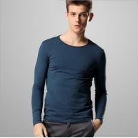Buy cheap Autumn solid color Slim round neck long-sleeved t-shirt men bottoming casual t-shirt from wholesalers