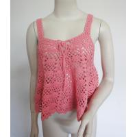 Buy cheap Spring / Summer Cotton Crochet Vest With Tie Front Details Scallop Pattern from wholesalers