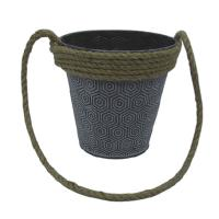 Buy cheap Cheap price metal flower bucket garden pot with rope handle from wholesalers