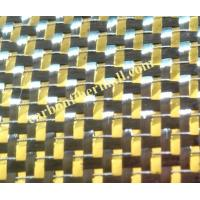 Buy cheap colored 3K carbon fiber mixed golden metallic yarn Woven Fabric 3K plain TORAY carbon fiber mixed from wholesalers