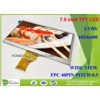 Buy cheap 7.0 Inch 1024x600 Industrial LCD Panel 40pin LVDS Replace Innolux EJ070NA-01J TFT LCD Module product