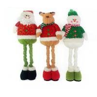 China Stuffed Reindeer Snowman Doll Christmas Plush Toys With Streaching Leg on sale