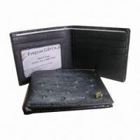 Wholesale Men's Bi-fold Wallet, Made of Leather, Measures 11.5 x 9 x 1.5cm from china suppliers