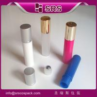 Buy cheap SRS empty recycled 10ml plastic roller ball bottle for eye serum with aluminum screw cap from wholesalers