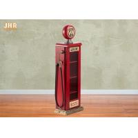 Buy cheap Antique Storage Cabinets Wooden Gas Pump Display Cabinet MDF Storage Rack Red Color from wholesalers
