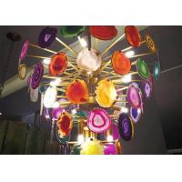 Wholesale Indoor Decoration Natural Stone Crafts Metal Plated Agate Lamp Set from china suppliers