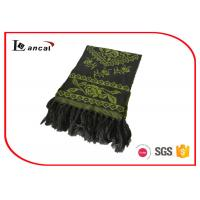 Buy cheap 100% Acrylic Green Knitting Patterns Scarf Adults Flower Pattern Jacquard Scarf from wholesalers