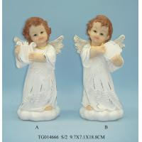 Buy cheap Gold Wings Polyresin Figurine , Small Beautiful Baby White Angel Statues Figurines from wholesalers