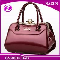 Buy cheap 2017 New designer European durable custom-made fashion glossy classical rose red pu leather ladies bags handbags from wholesalers