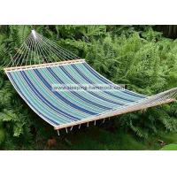 Buy cheap 13 Ft Foldable  Sleeping Double Fabric Hammock With Spreader Bar Green Blue Strip from wholesalers