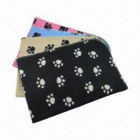 Wholesale Soft Dog Pet Blankets with Paws Printing, Available in 4 Various Colors from china suppliers