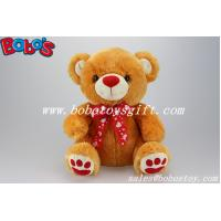 Buy cheap 100%Polyester Plush Toy Bear In Brown Color With Red Nose Paw and Ribbon from wholesalers