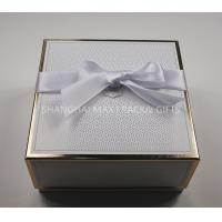 Buy cheap High End Apparel Branded Gift Boxes With Ribbon Bow Gold Hot Stamp Foil Printing from wholesalers