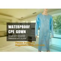 Buy cheap Disposable CPE plastic gown/Plastic coat Elastic cuff/Thumb Cuff,disposable hospital CPE isolation gown /protection gown from wholesalers