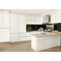 Buy cheap Milk White Complete Kitchen Cabinet Set Aluminium Frame with Lacquered Glass Front from wholesalers