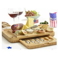Buy cheap Bamboo Wooden Cheese Board With 6 Stainless Steel Cheese Knives & 6 Appetizer Forks from wholesalers
