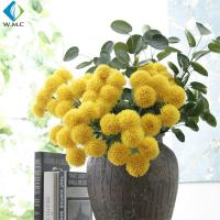Wholesale Yellow White Fake Flower Bouquet , Ball Shape Artificial Chrysanthemum Flowers from china suppliers