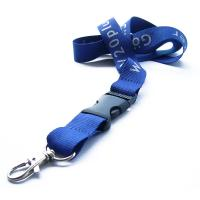 Buy cheap promotional blue silk screen polyester lanyard strap with custom logo,polyester neck lanyards from wholesalers