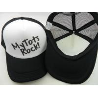 Wholesale 100% ployester Printing 6-panel hat air-mesh trucker caps Customize kids  trucker hats black&white  size 57-60CM from china suppliers