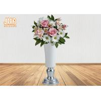 Buy cheap White Fiberglass Floor Vases Homewares Decorative Items Silver Leaf Footed Table Vases from wholesalers