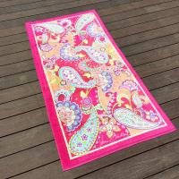 Quality Cute Girls Pink Butterfly Beach Towel Custom Size For Birthday Gift for sale
