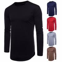Buy cheap China factory wholesale cheap men blank longline curved hem long sleeves t shirt from wholesalers