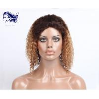 Buy cheap Curly Human Hair Front Lace Wigs Short Human Hair Wigs Ombre Color from wholesalers