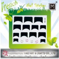 Buy cheap Flower and Heart Design French Nail Stickers, nail tip Decal with Black and Pink from wholesalers