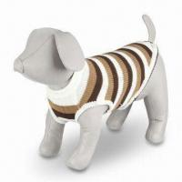 Buy cheap Striped Pet Sweater Pullover with Ribbed Neck and Reinforced Hem, Made of product