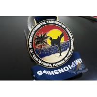 Wholesale Taekwondo Round Custom Race Medals Sandblast Effect With Gold Plating from china suppliers