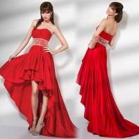 Buy cheap Red Satin short front long back wedding dress , open back strapless wedding gowns from wholesalers