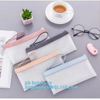 Buy cheap clear vinyl TPU pencil case bag with zipper for boys girls, Creative contracted envelope bag translucent frosted pencil from wholesalers